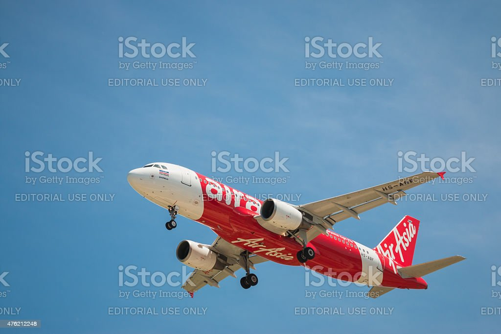 Airbus A320 Thai Air Asia landing to DonMueang International Airport stock photo