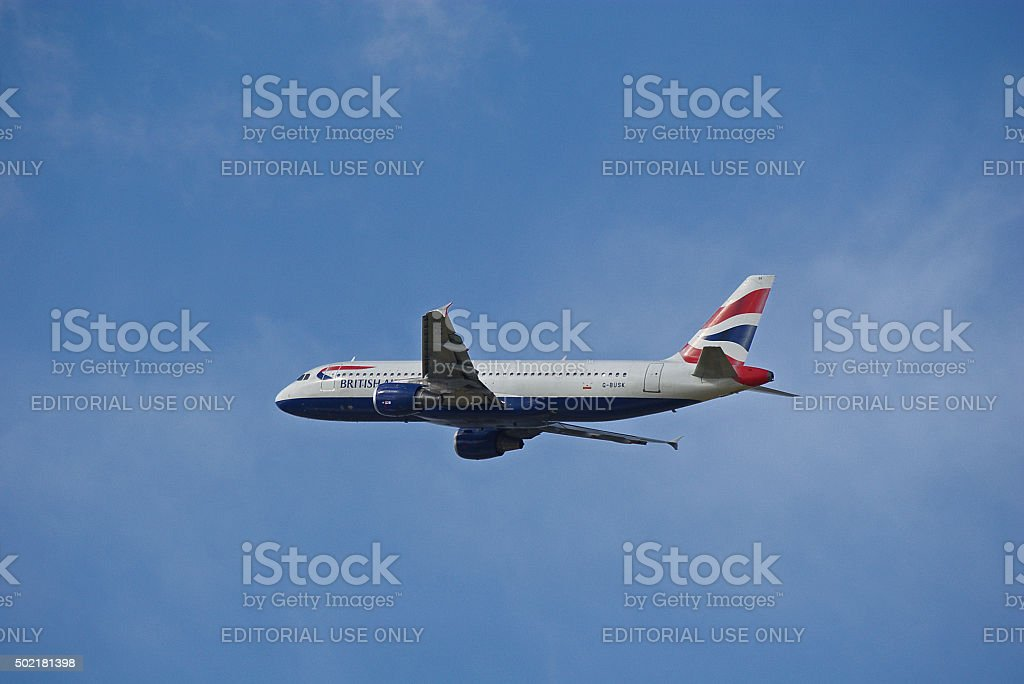 Airbus A320-211 of British Airways while take-off stock photo