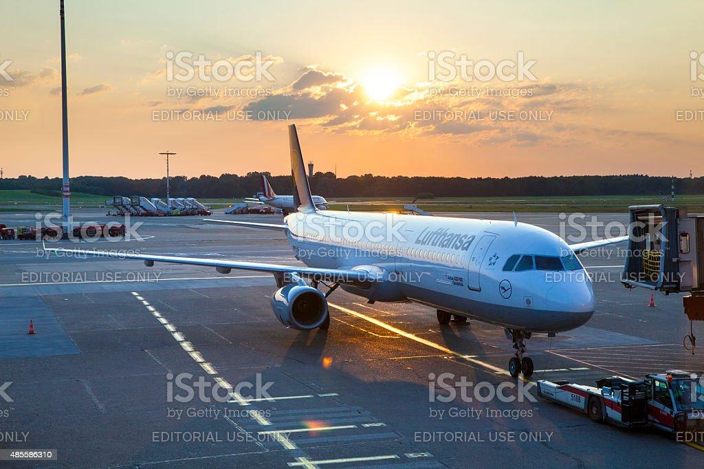 Airbus A321 at the Hamburg Airport stock photo