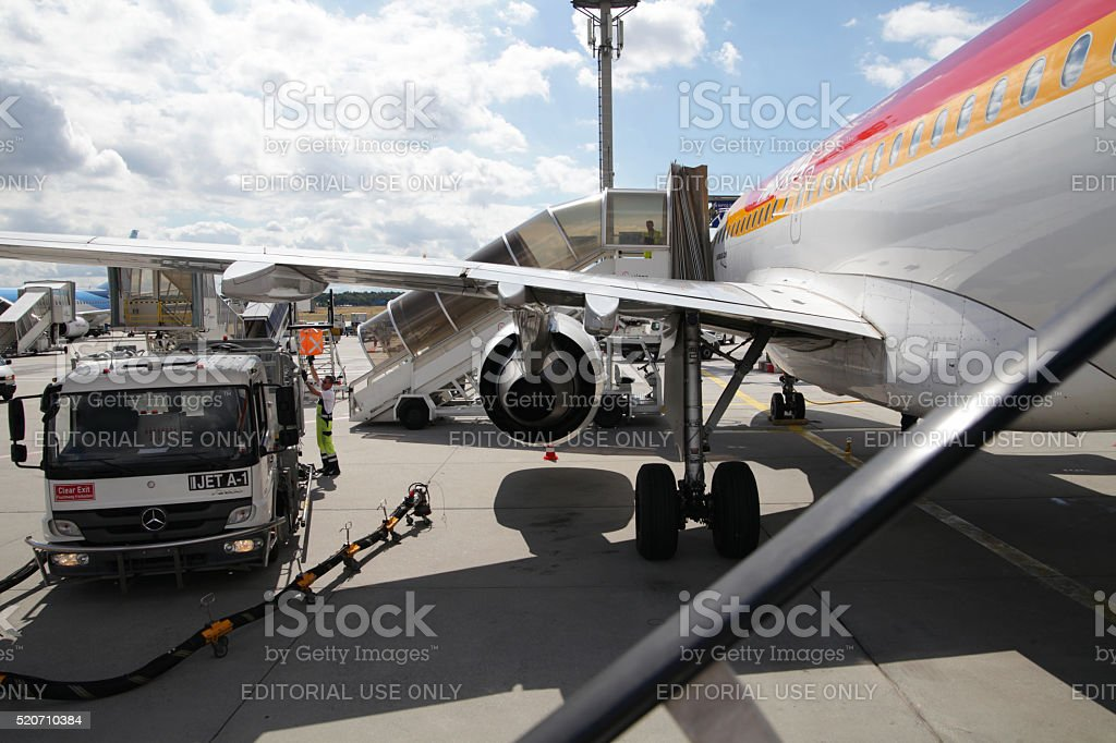 Airbus A321 being prepared at airport stock photo