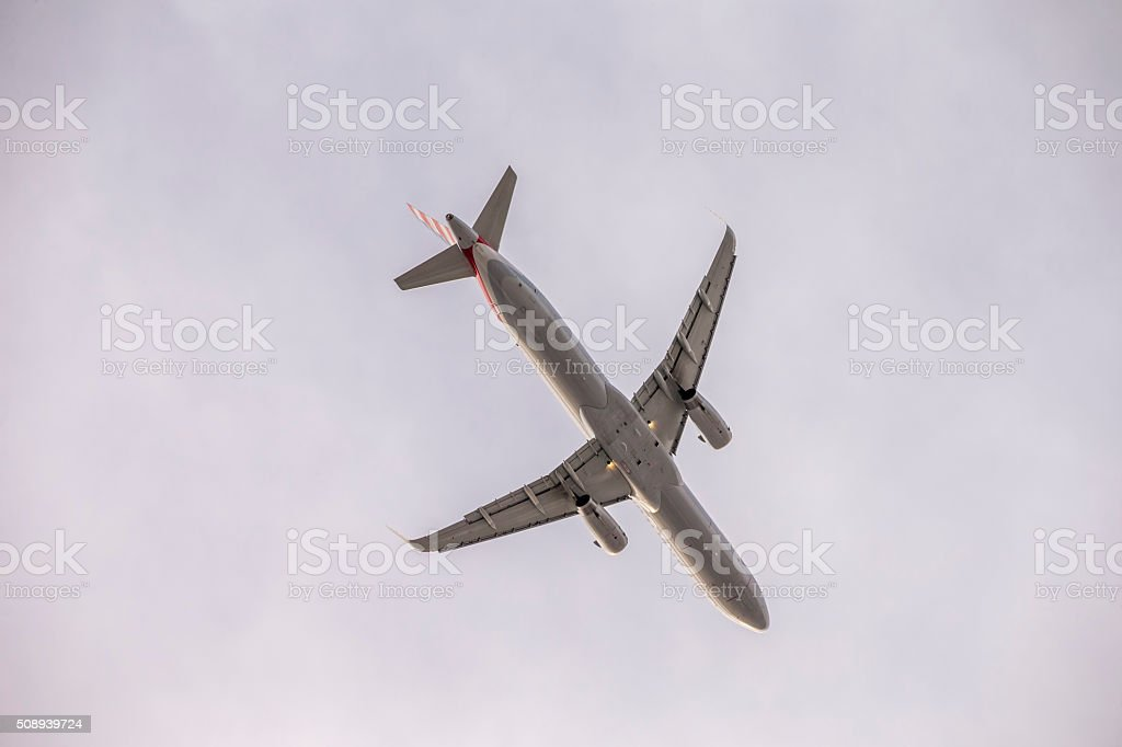 Airbus A321 in the air stock photo