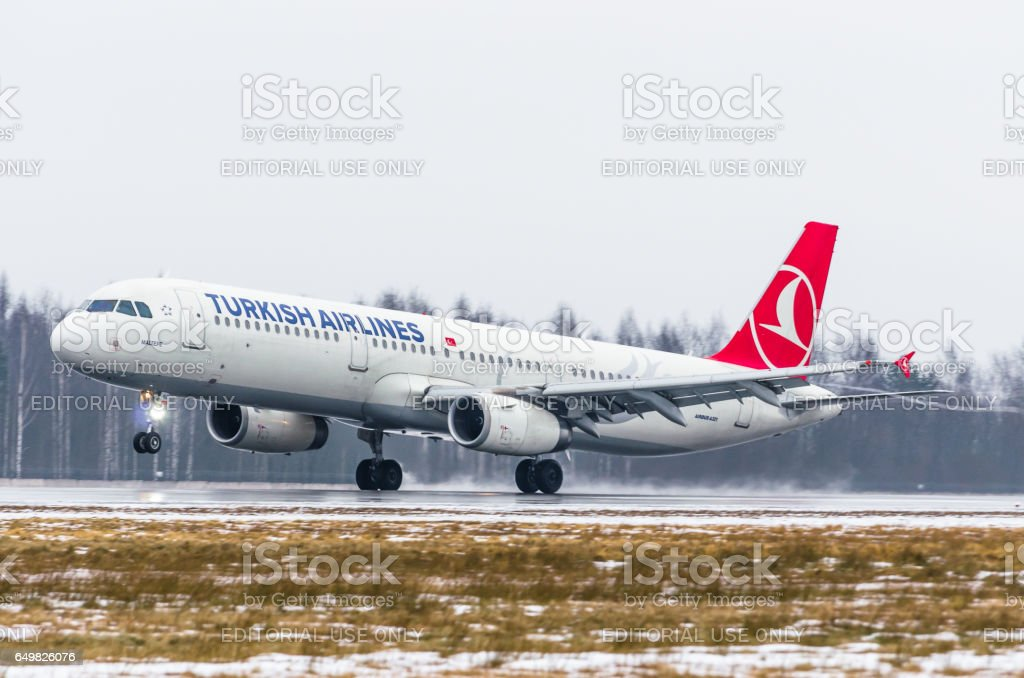 Airbus a321 Turkish airlines, airport Pulkovo, Russia Saint-Petersburg January 2017 stock photo