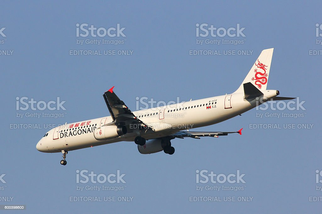 B-HTF Airbus A321-100 of Dragonair stock photo