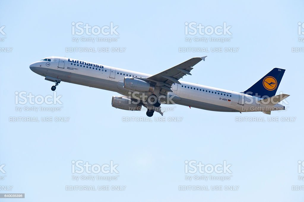 Airbus A321-200 of the German Lufthansa Airline at start stock photo