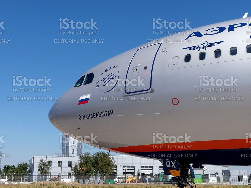 Airbus A330 Aeroflot airlines name 'Osip Mandelstam' stock photo