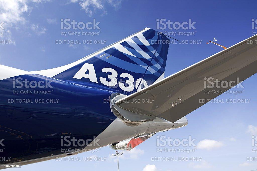 Airbus A330 airplane tail upward view stock photo
