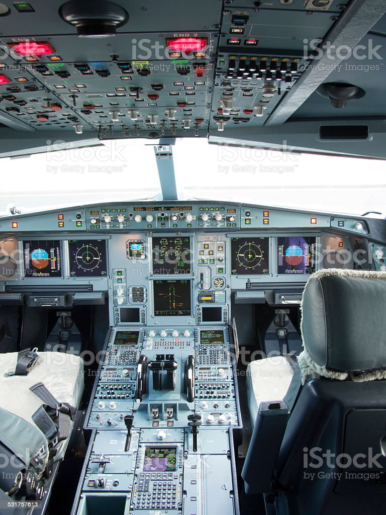 Airbus A330 airplane's cockpit with front,overhead and pedestrian panel stock photo