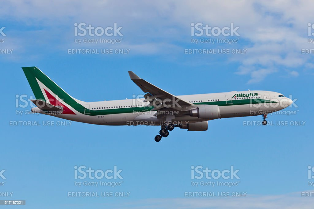 Airbus A330 Alitalia landes at JFK Airport stock photo