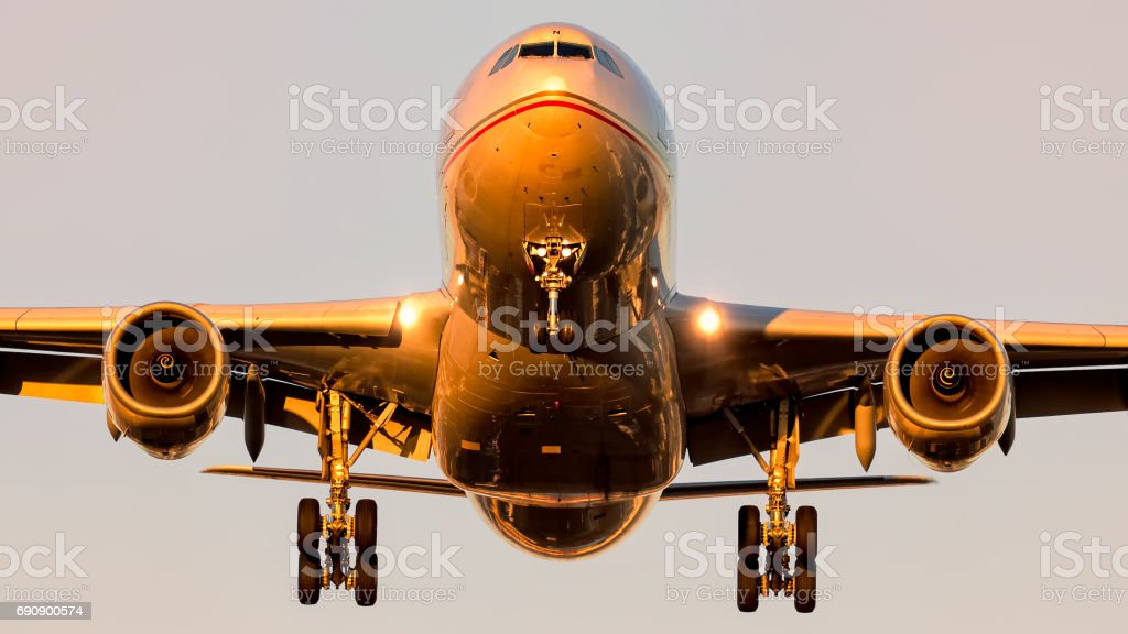 Airbus A330 approaching in beautiful Sunlight! stock photo