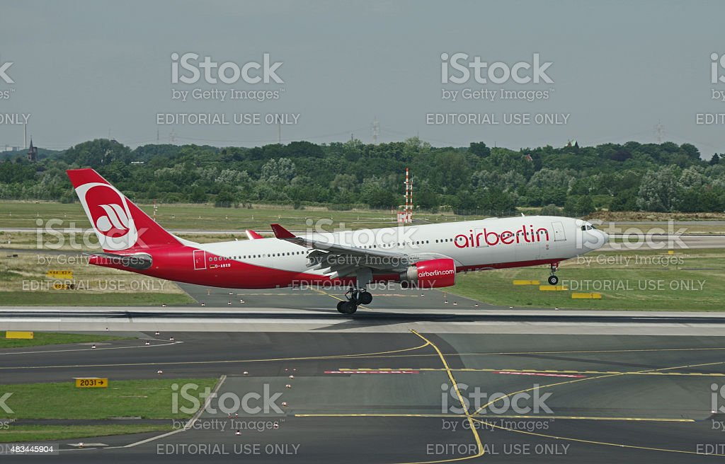 Airbus A330-200 Air Berlin during touch-down stock photo