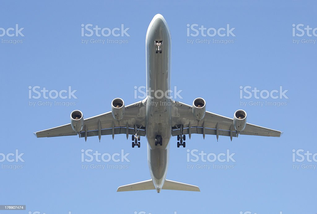 Airbus A340 landing royalty-free stock photo
