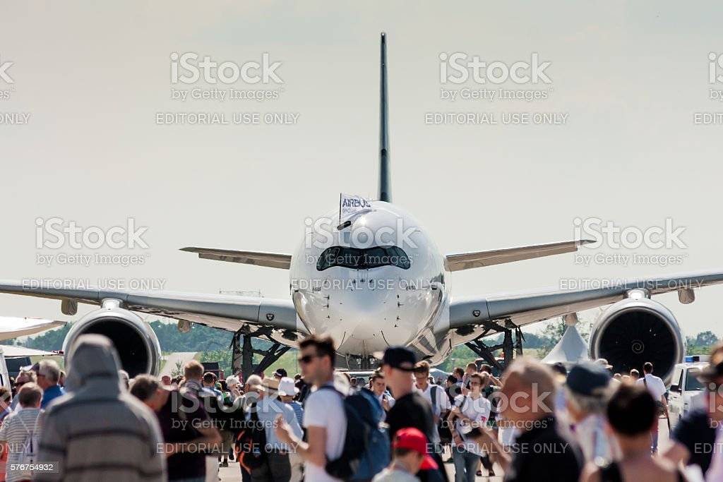 Airbus A350 at Berlin Schoenefeld Airport - Front View stock photo
