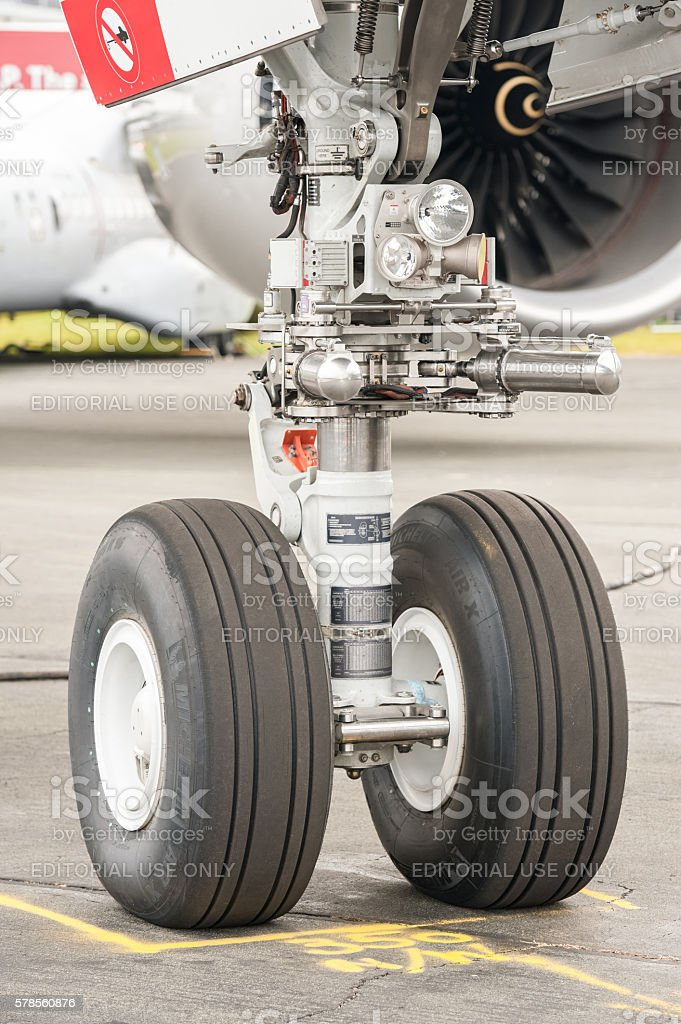Airbus A350 nose wheel undercarriage stock photo