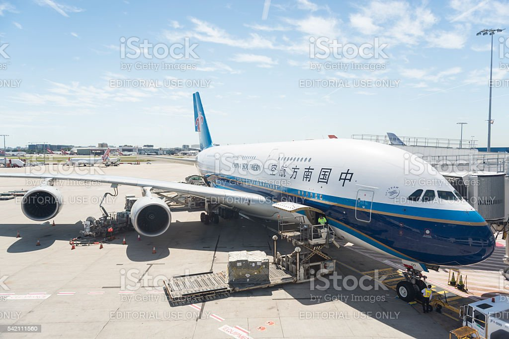Airbus A380 airplane stock photo