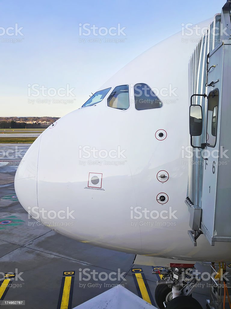Airbus A380 at Aerobridge royalty-free stock photo