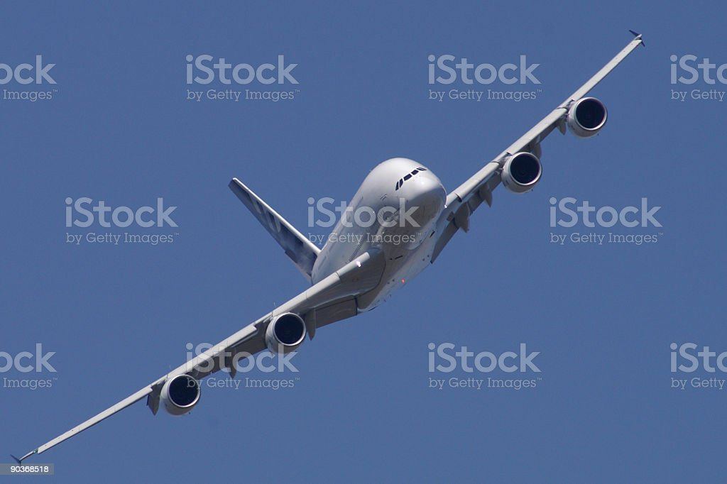 Airbus A380 civil airliner in flight stock photo