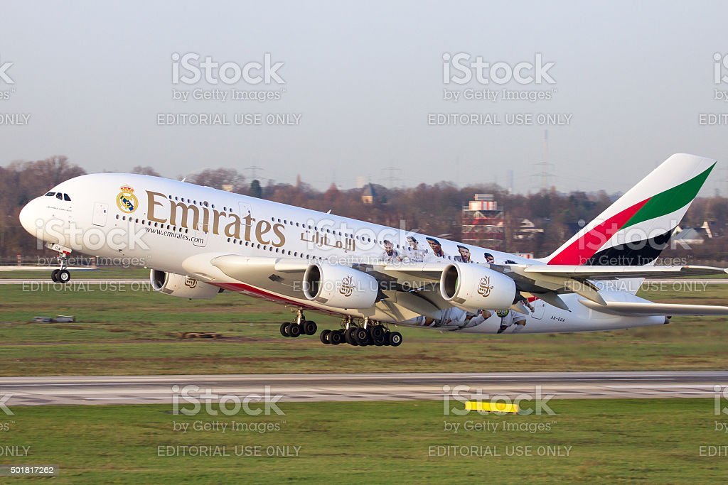 Airbus A380 Emirates stock photo