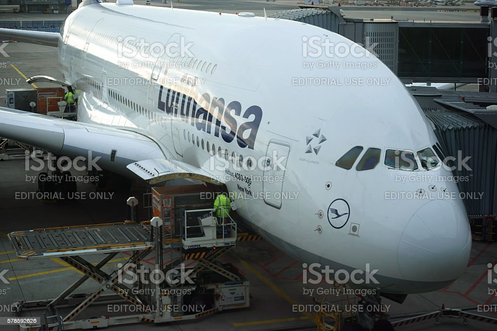 Airbus A380 from Lufthansa stock photo