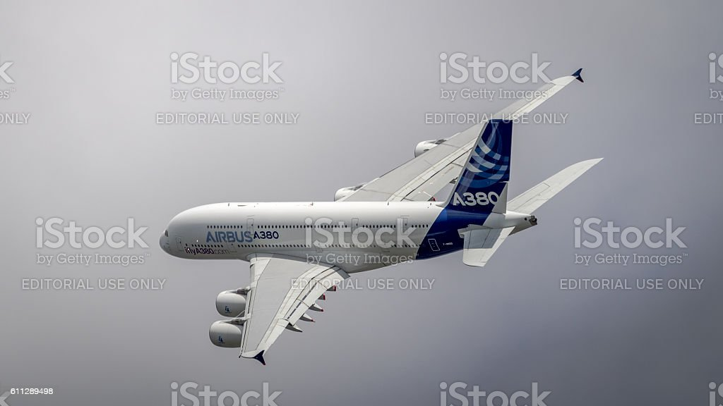Airbus A380 in flight stock photo