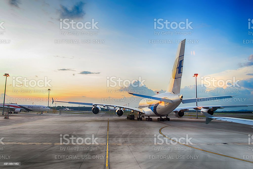 Airbus A380 in the airport stock photo