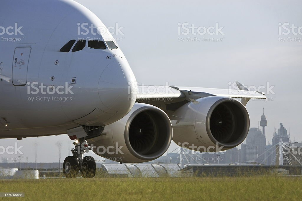 Airbus A380 jet airliner on runway stock photo