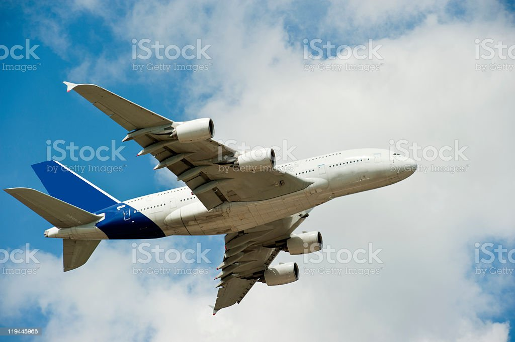 Airbus A380 performing at the Farnbourough Air-Show stock photo