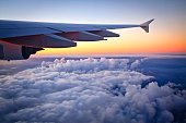 Airbus A380-800 - Looking out window to sunset during flight
