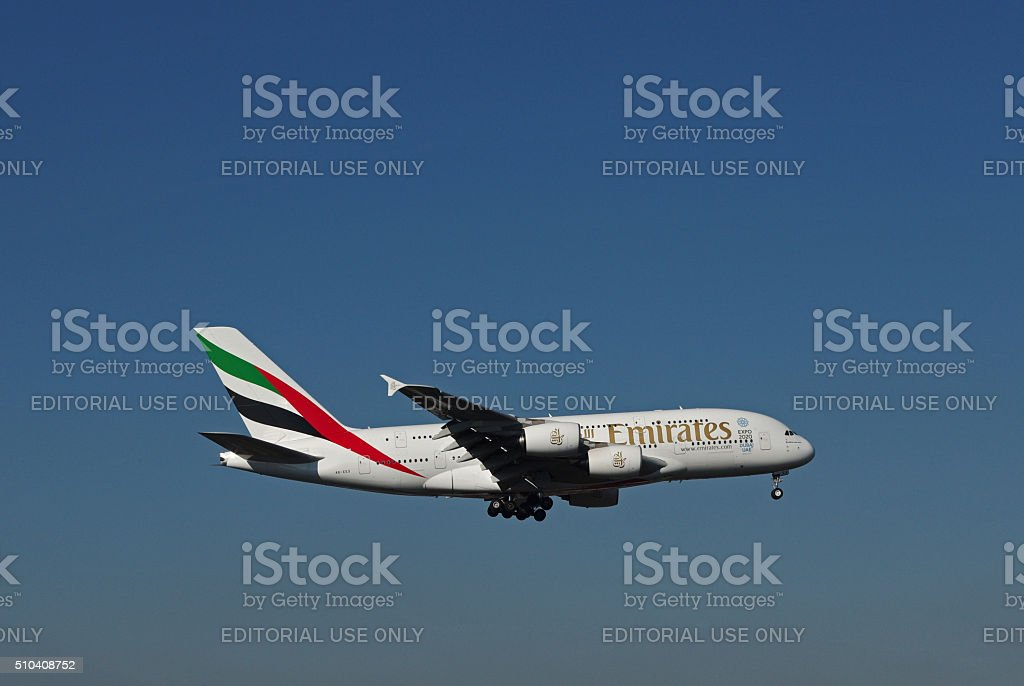 Airbus A380-800 of Emirates Airline stock photo