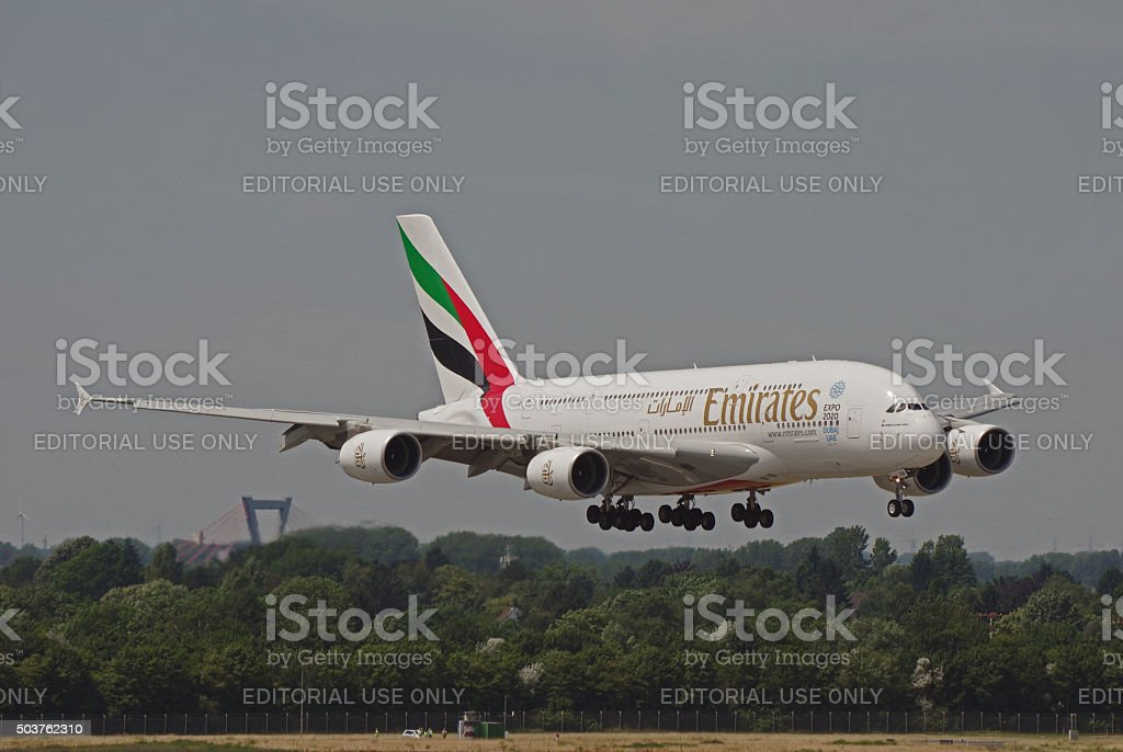 Airbus A380-800 of Emirates stock photo