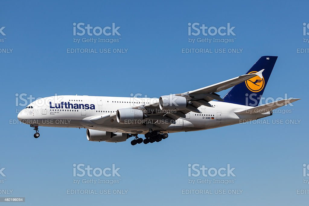 Airbus A380-800 of the Lufthansa airline stock photo