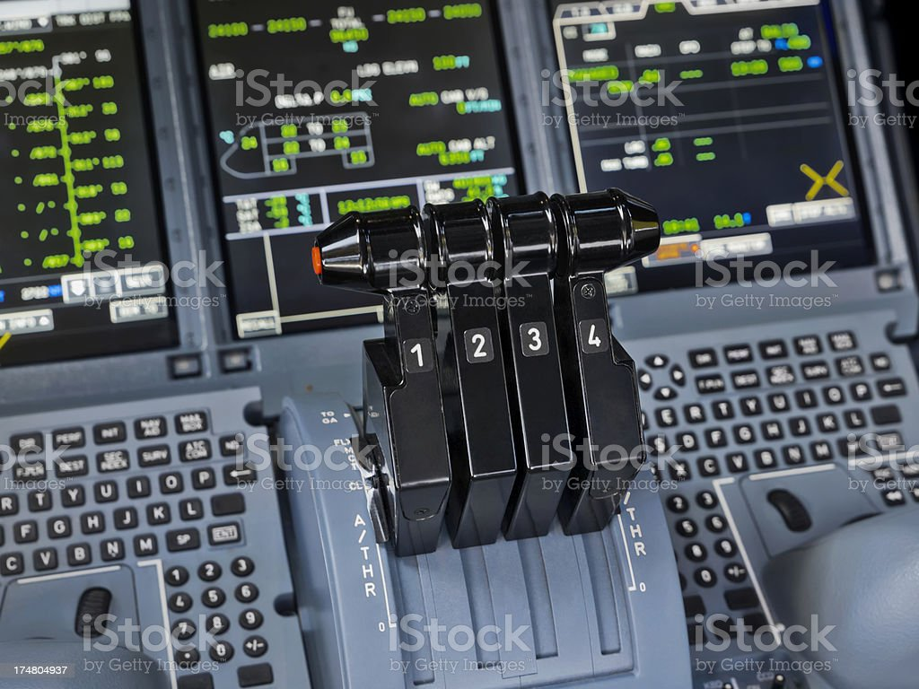 Airbus A380-800 Thrust Levers stock photo