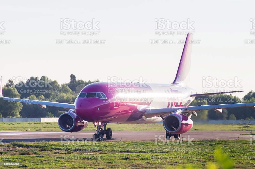 Airbus Airplane taxiing in International airport stock photo
