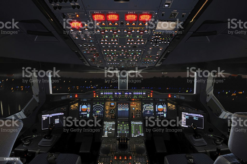 Airbus Cockpit stock photo