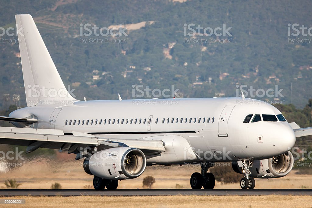 Airbus Commercial aircraft on a runway stock photo
