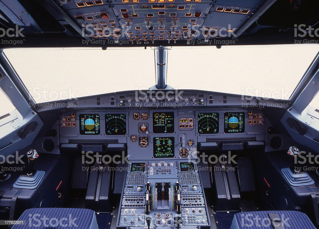 Airbus flight deck stock photo