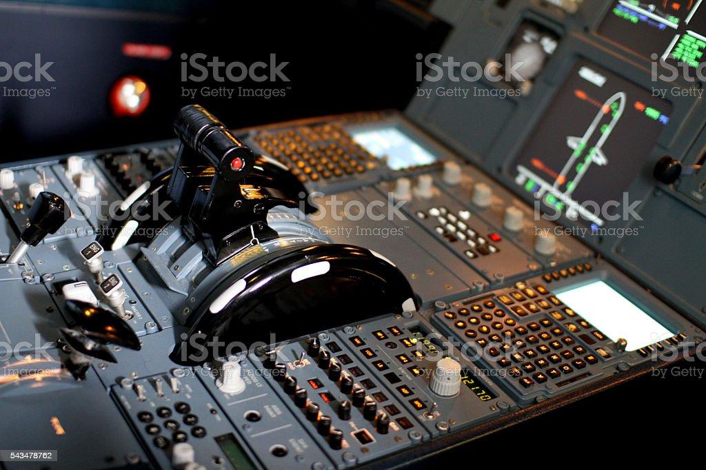 Airbus Jet Cockpit Pedestal Panel stock photo