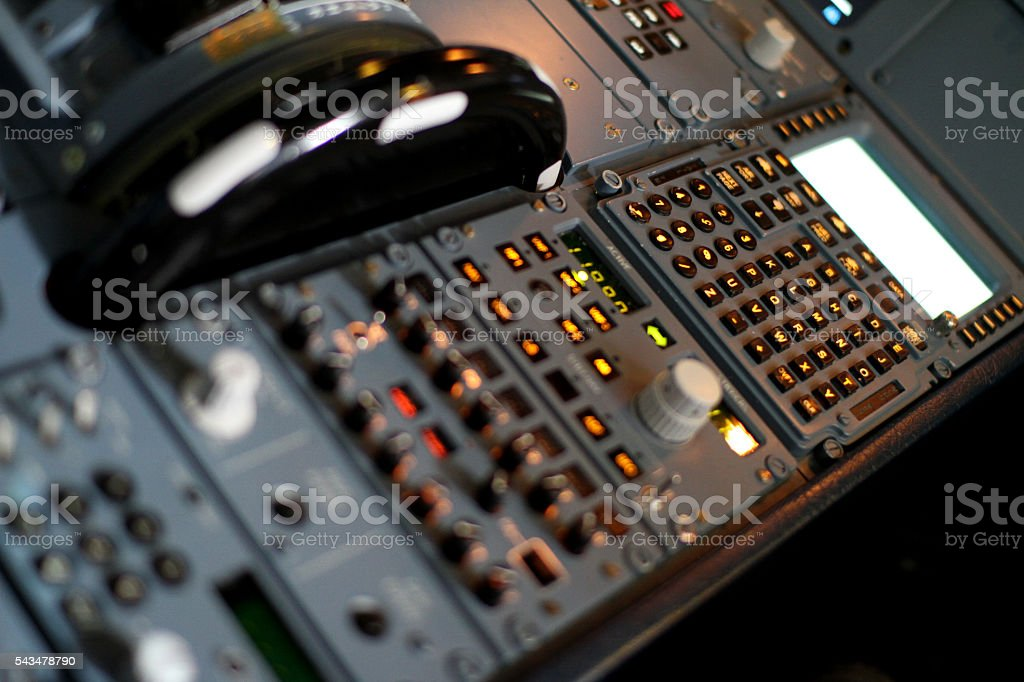 Airbus Jet Cockpit Pedestal Panel stock photo