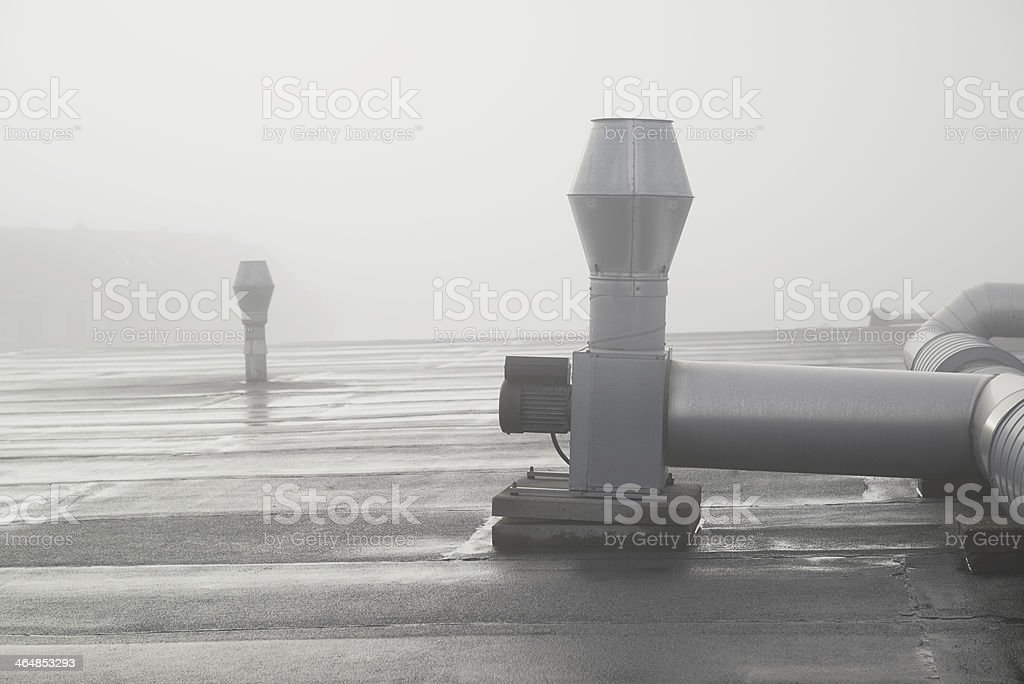 Aircondition equipment on a roof stock photo