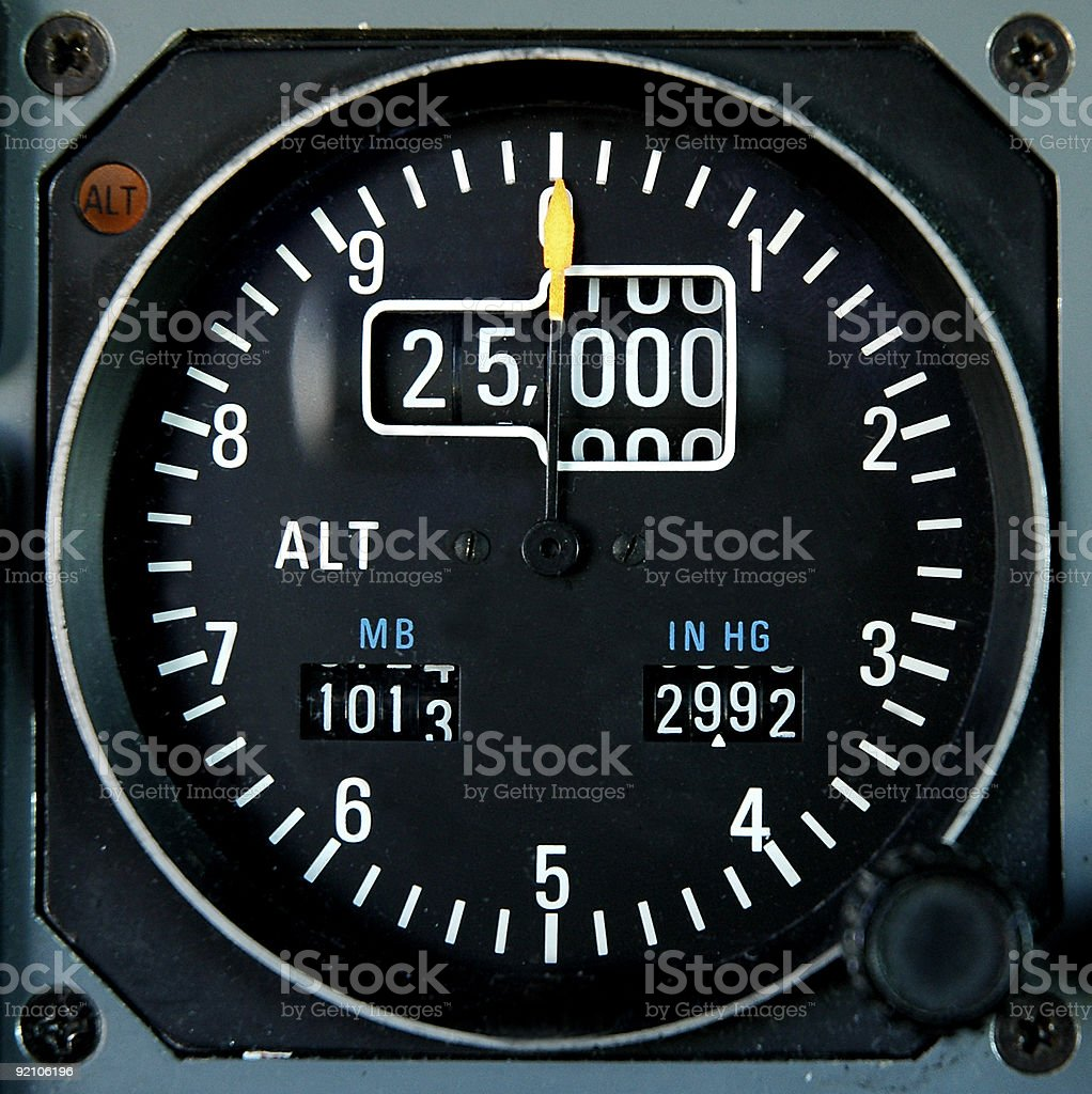 Aircraft altimeter stock photo