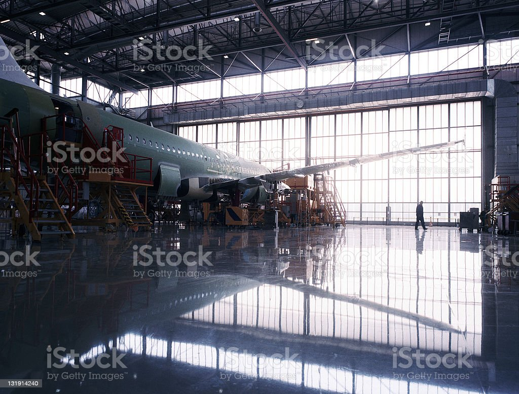 Aircraft assembly line stock photo