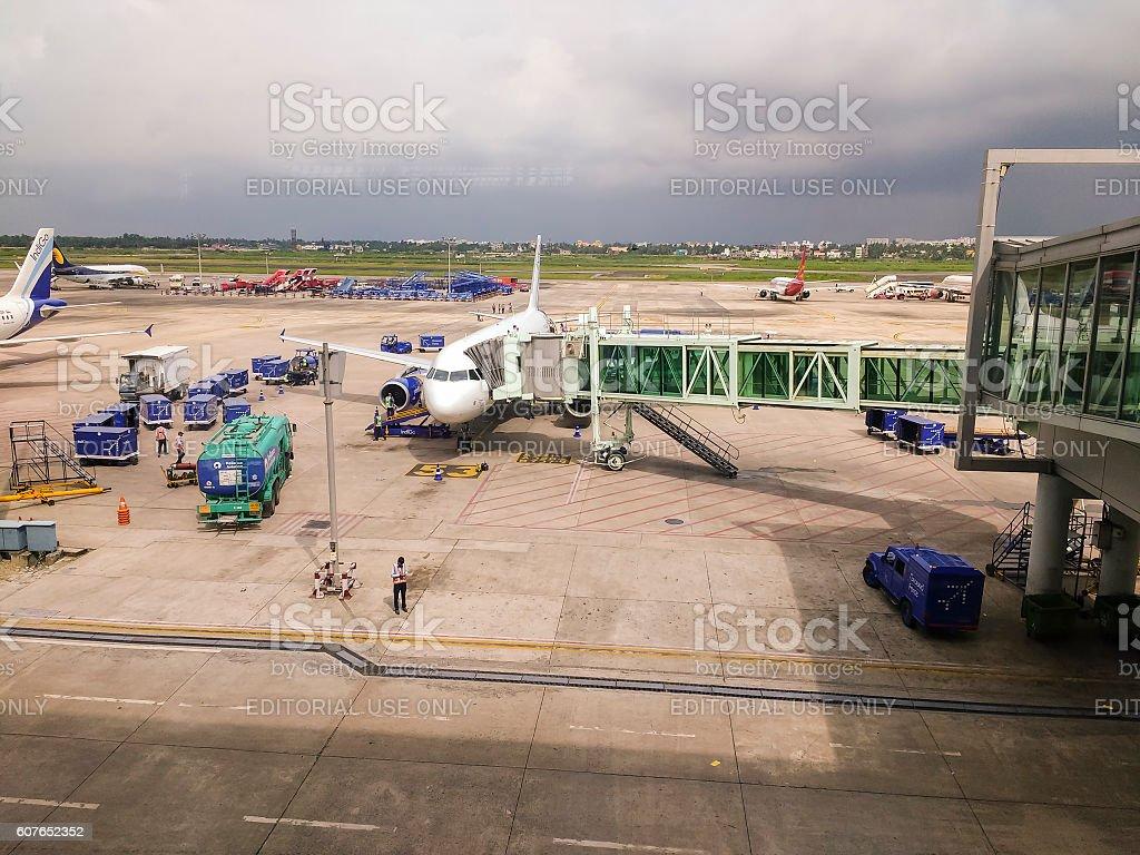 Aircraft at Kolkata International Airport, India stock photo