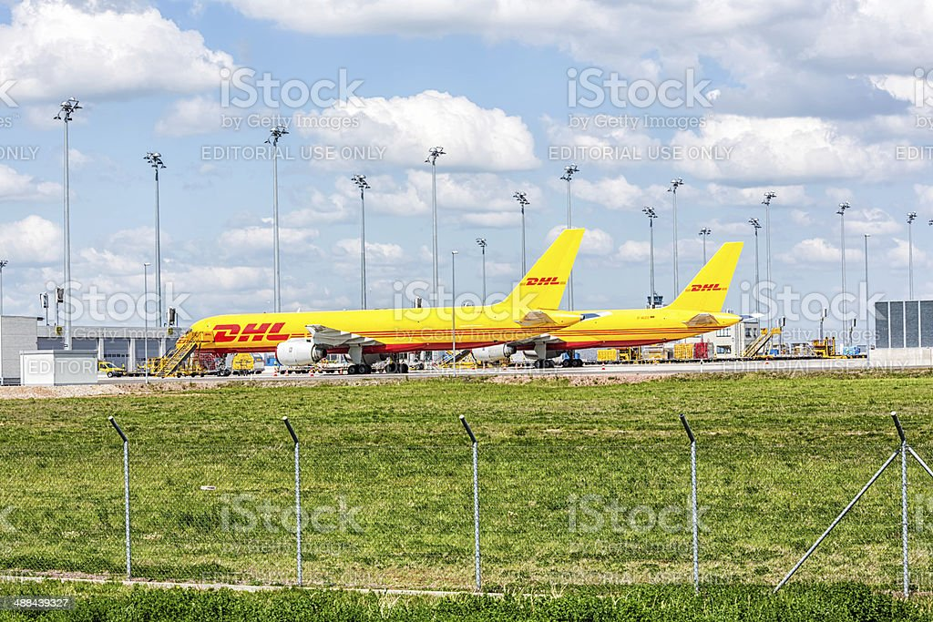 DHL aircraft at Leipzig airport stock photo