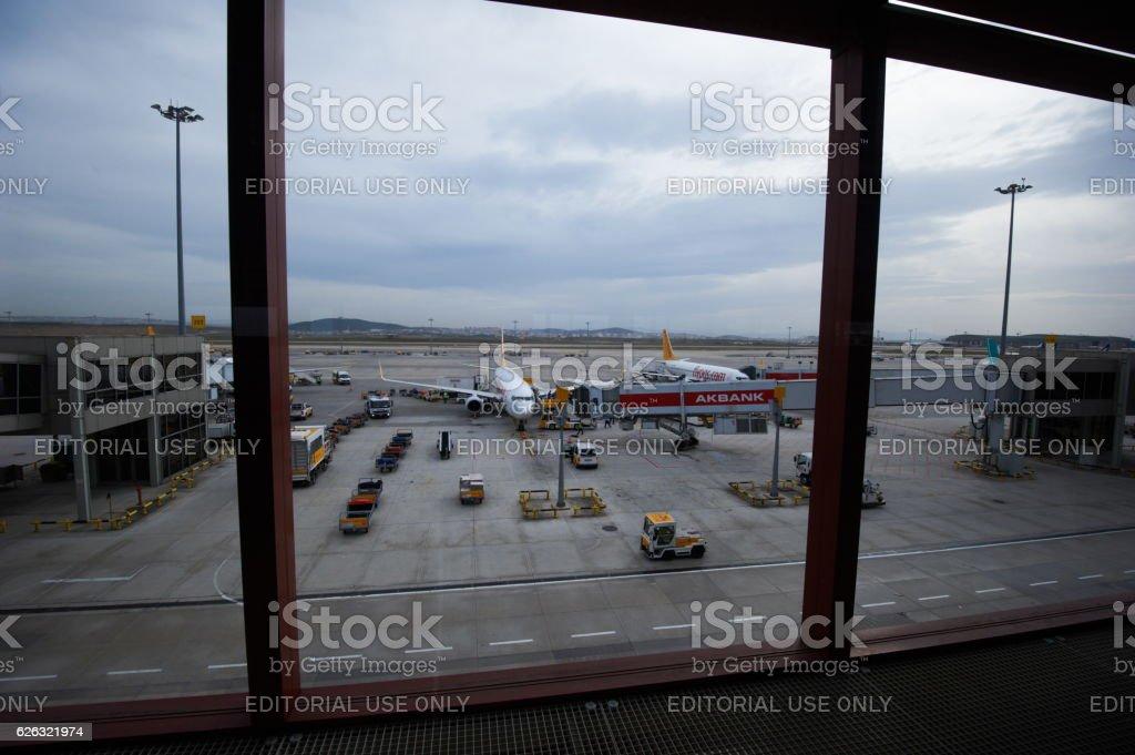 Aircraft at Sabiha Gokcen International Airport stock photo