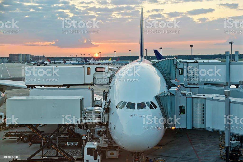 Aircraft At Terminal Aerobridge In Transit stock photo