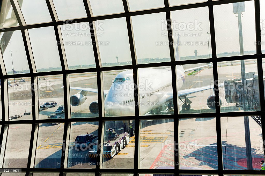 aircraft at the new terminal ready for boarding stock photo