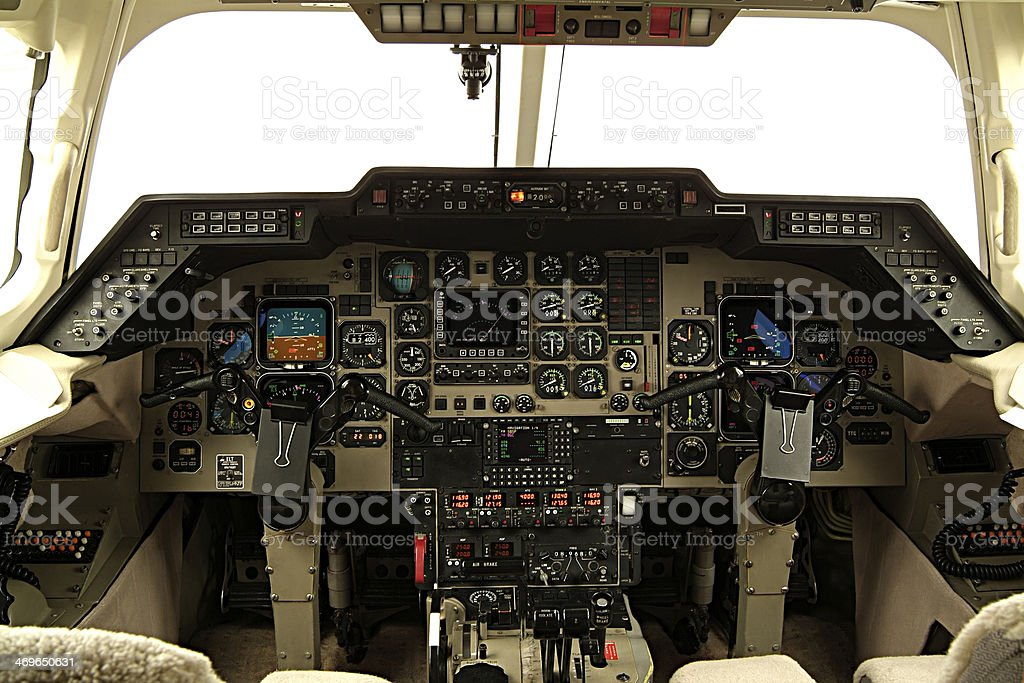 Aircraft cabin command royalty-free stock photo