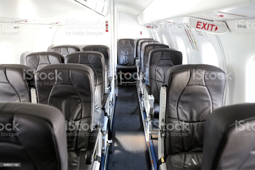 Aircraft cabin of an Airplane stock photo