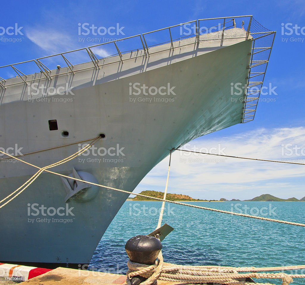 Aircraft carrier and battleship royalty-free stock photo