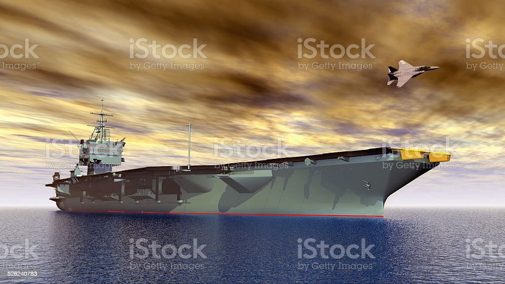 Aircraft Carrier and Fighter Plane stock photo