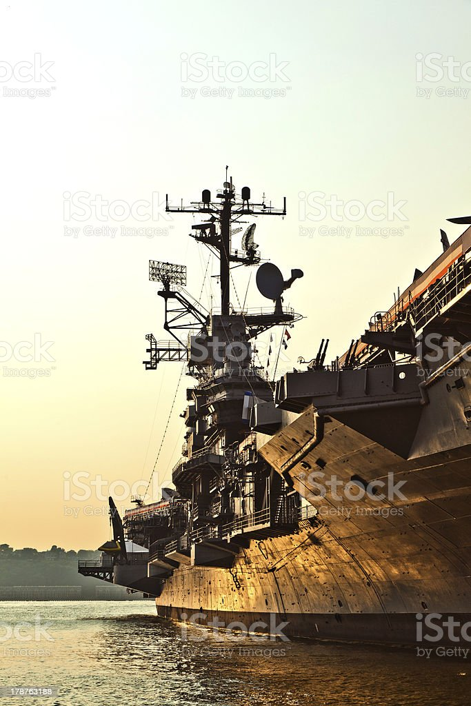 aircraft carrier as museum in New York stock photo